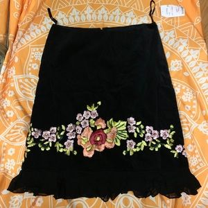 Embroidered Faux-Suede High Waisted Skirt